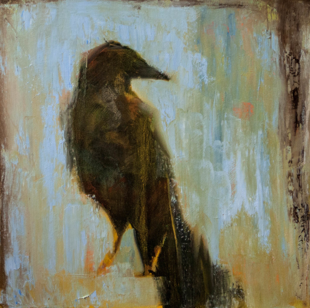 blackbird, oil painting, raven, blue, crow, contemporary artwork
