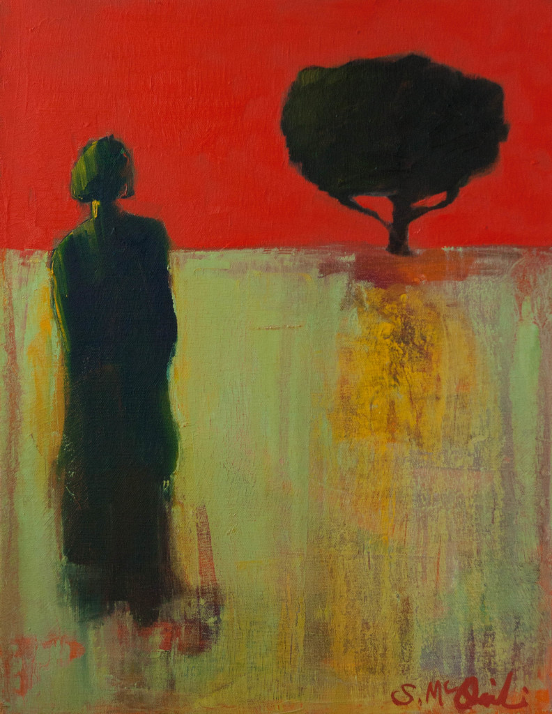 abstract figurative painting, contemporary artwork, tree, distance