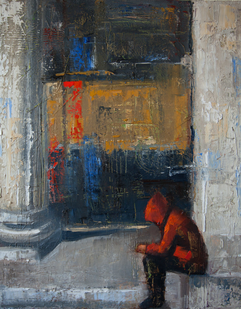 red hoodie, oil painting, texture