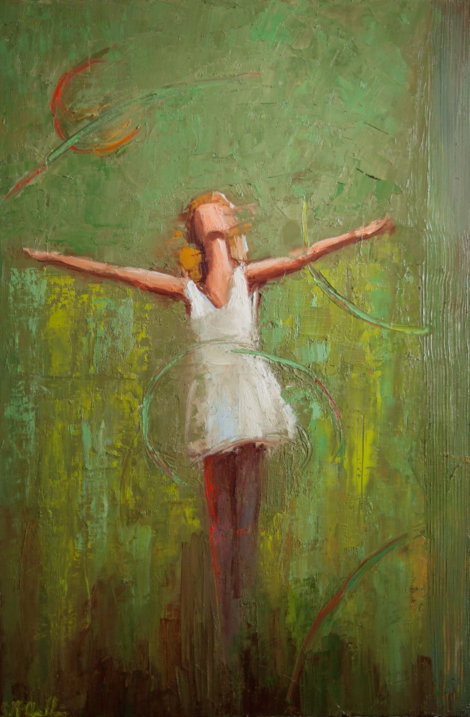 abstract figurative, green, mixed media, joy, freedom expressive painting