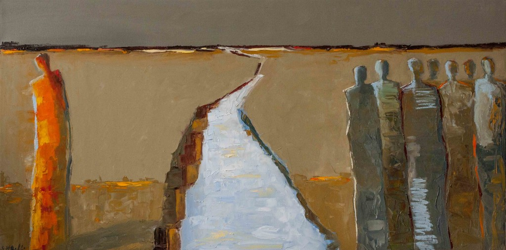abstract figurative, exile, earth tones, contemporary art