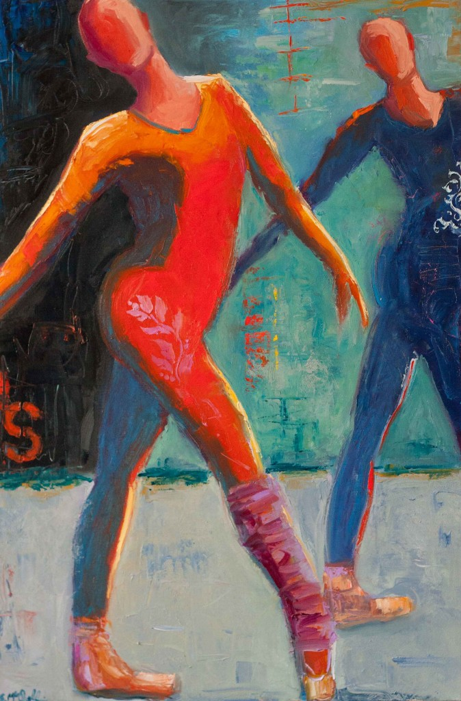 abstract figurative, dancers, vivid color, ballet,