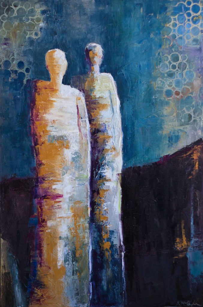abstract figurative artwork, blue, contemporary artwork, art for sale,