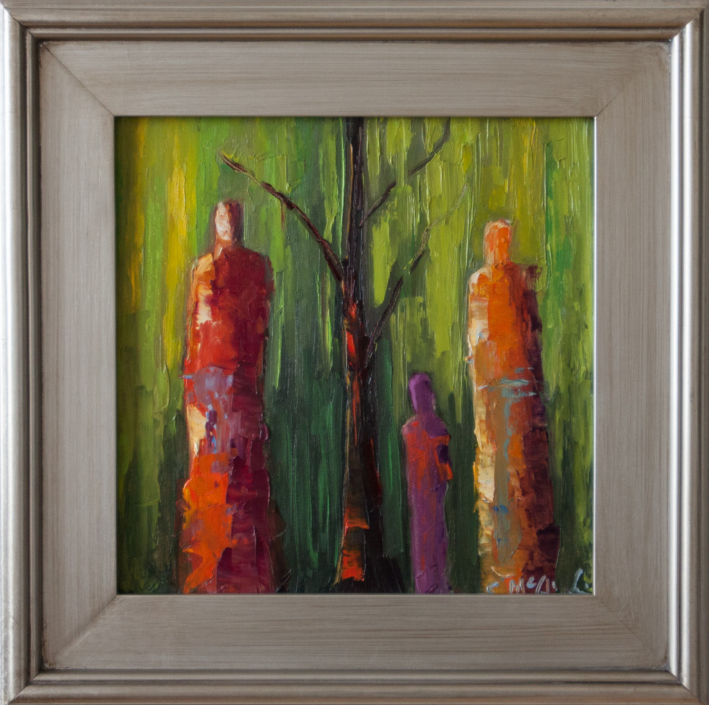 abstract figurative, green, framed, art, contemporary art