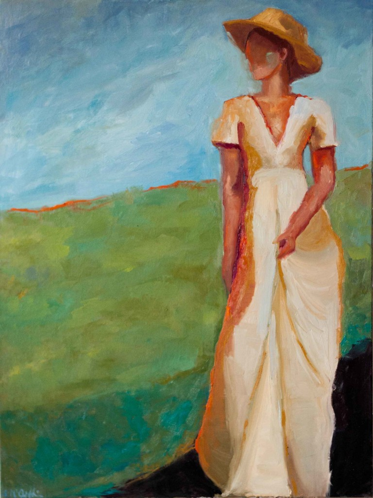 abstract figurative, woman in long dress, contemporary figure, independent woman, strength, solitude