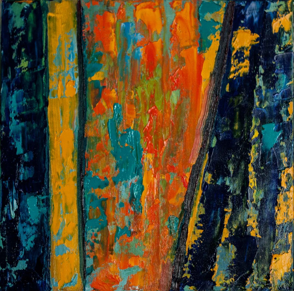 abstract painting, textured, impasto, yellow, blue,