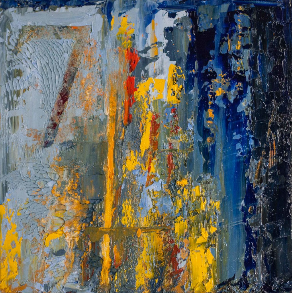 abstract painting, textured, impasto, yellow, blue, seven,