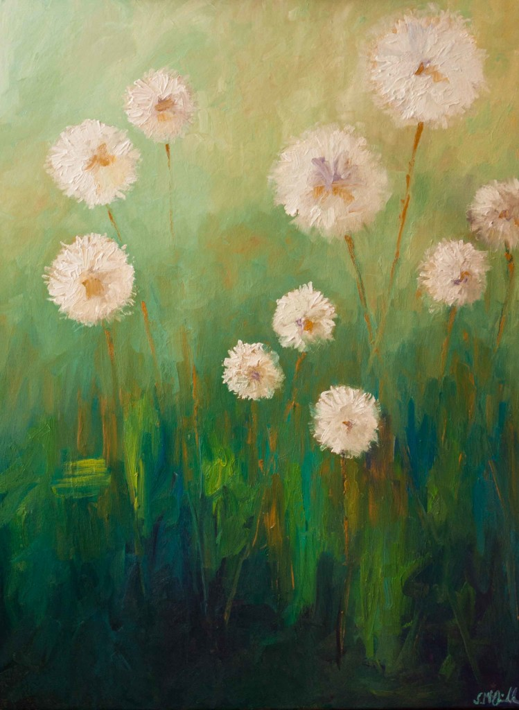 oil painting, nature, dandelion puffs, large gallery wrapped oil painting