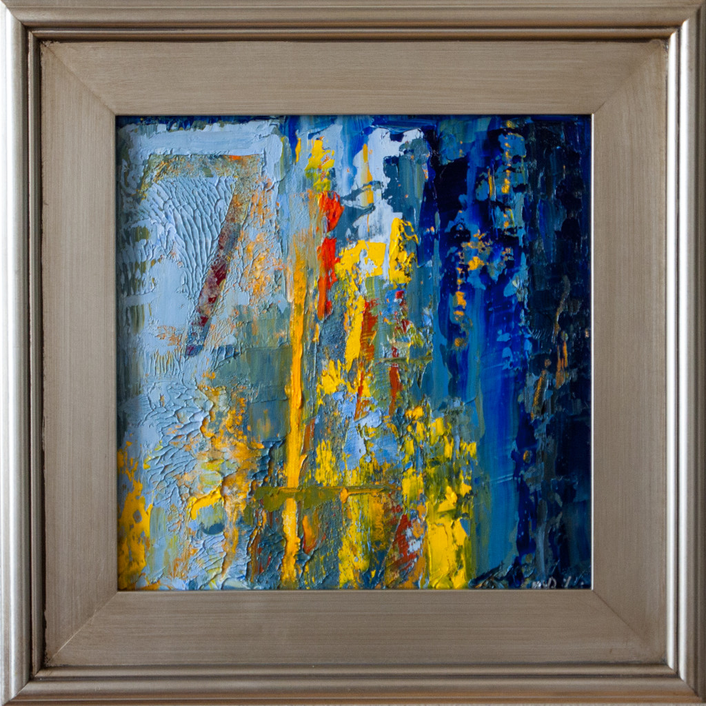 abstract, number, blue, yellow, framed,