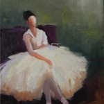 abstract figurative, dancer, white dress, ballet, sitting, watching, oil painting, contemporary art