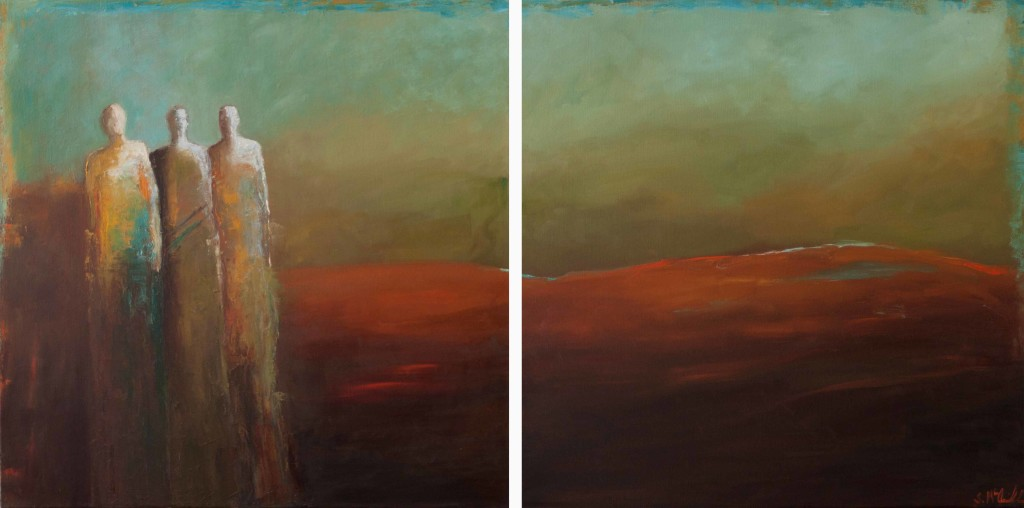 diptych, abstract figurative, large painting, surreal, contemporary artwork