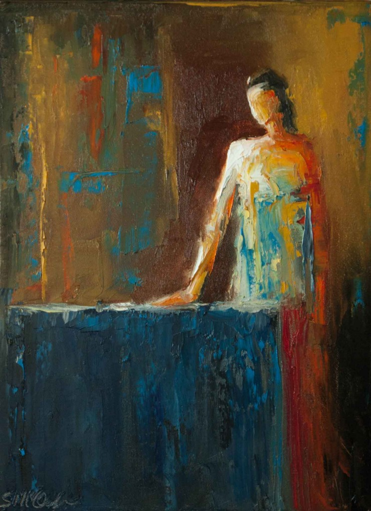 abstract figurative, oil painting, contemporary figurative, painting of a woman, textured painting, colorful painting