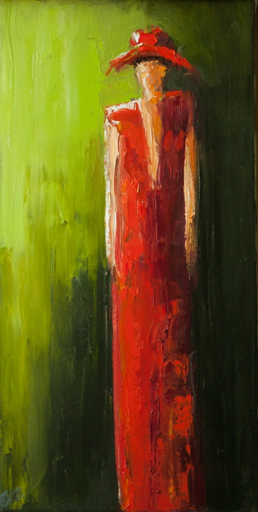 abstract figurative, contemporary figurative, red, green woman in hat, red dress,
