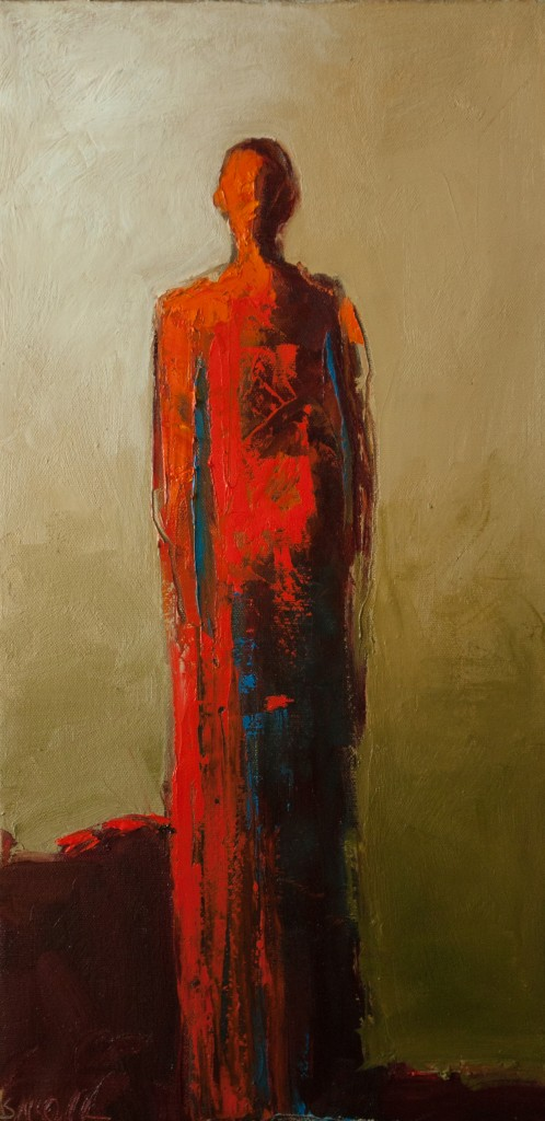 abstract figurative painting, contemporary figurative painting, red, warrior,