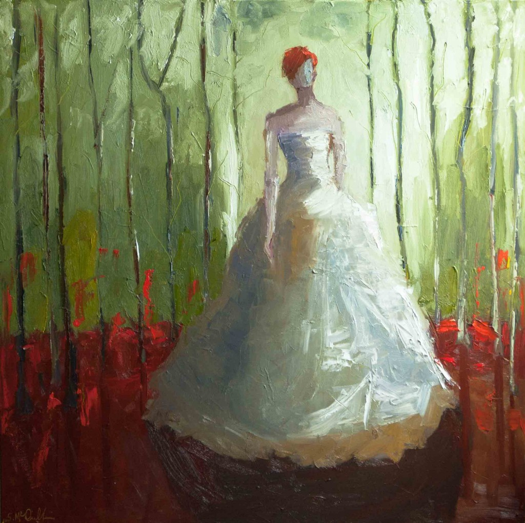 abstract figurative painting, red, green, fairly tale, woods, forest, contemporary figurative, oil painting on canvas,
