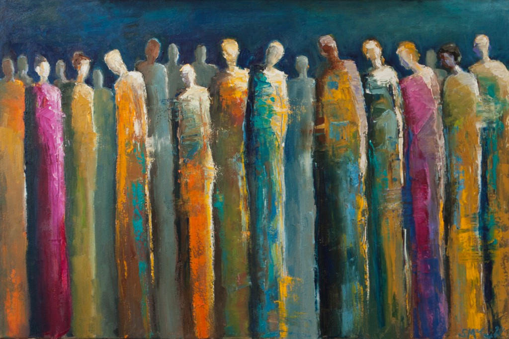 abstract figurative painting, group, community, social networking, oil painting, contemporary artwork, contemporary figurative, colorful art