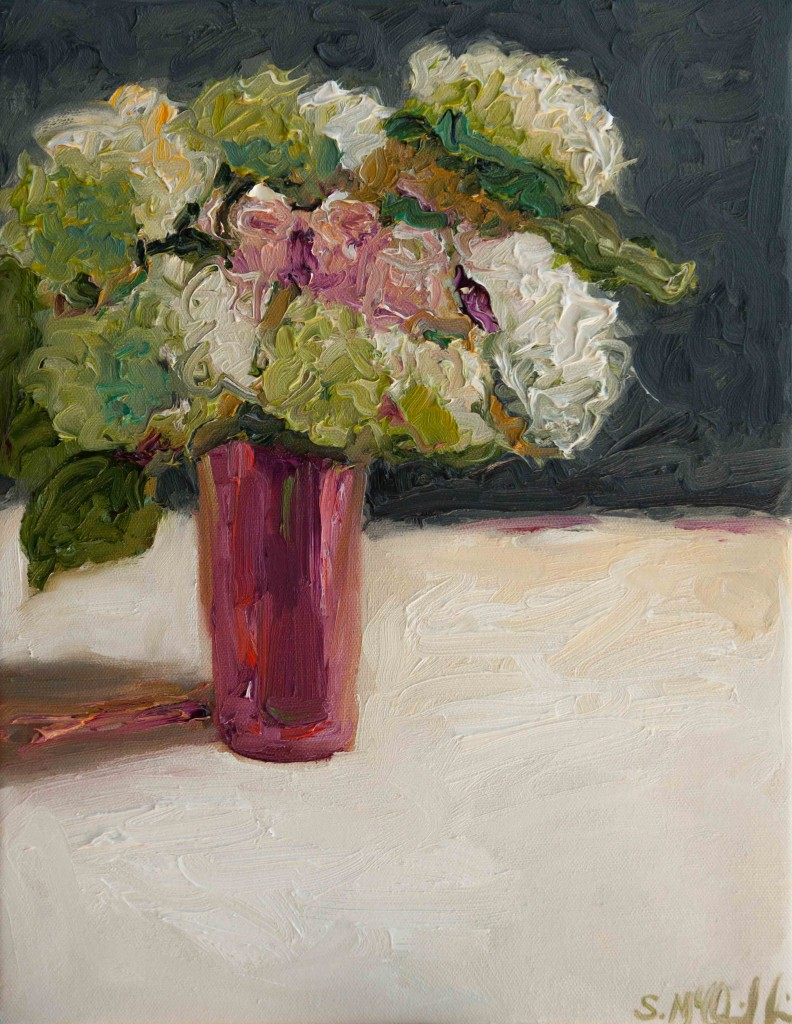 flowers, still life, oil painting, botanical, romantic, pink
