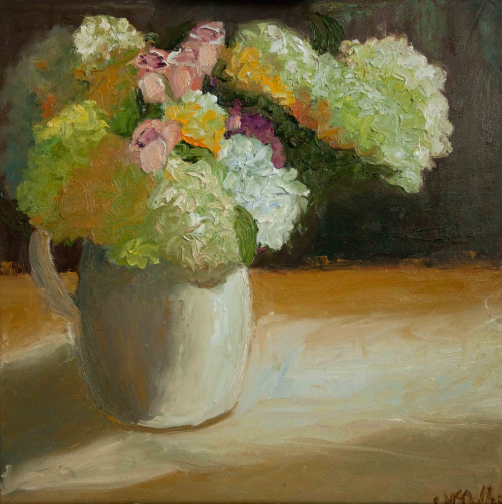 still life, oil painting, blooms, flowers, botanical