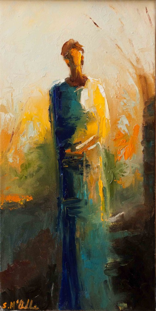 abstract figurative, contemporary artwork, fall, autumn, warm colors, oil on canvas, yellow,