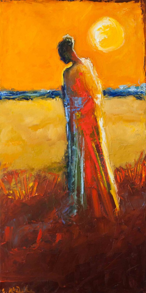 abstract figurative oil painting, sunset, warm colors, contemporary art, expressive, colorful