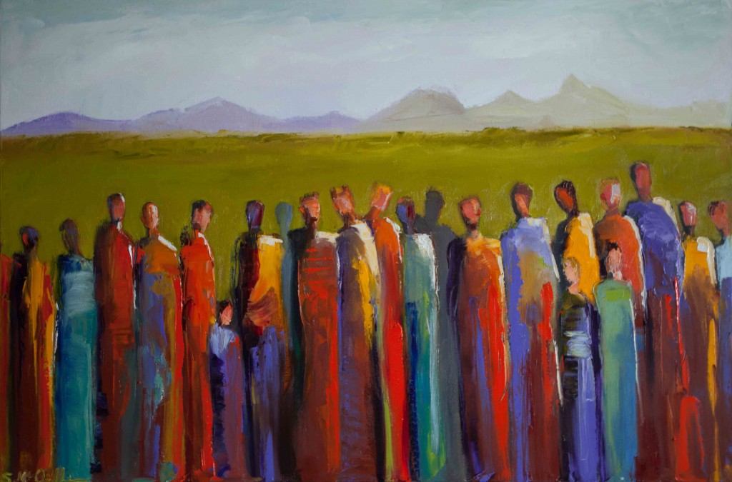abstract figurative, oil painting, gallery wrapped, colorful,group of people