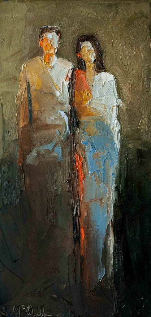 abstract figurative, contemporary figurative artwork, pallet knife, texture, oil painting, couple, romance, love,