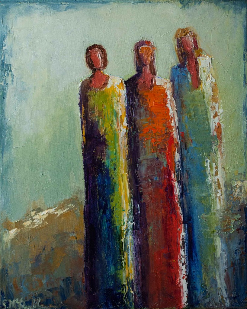 abstract figurative, oil painting, women, colorful,