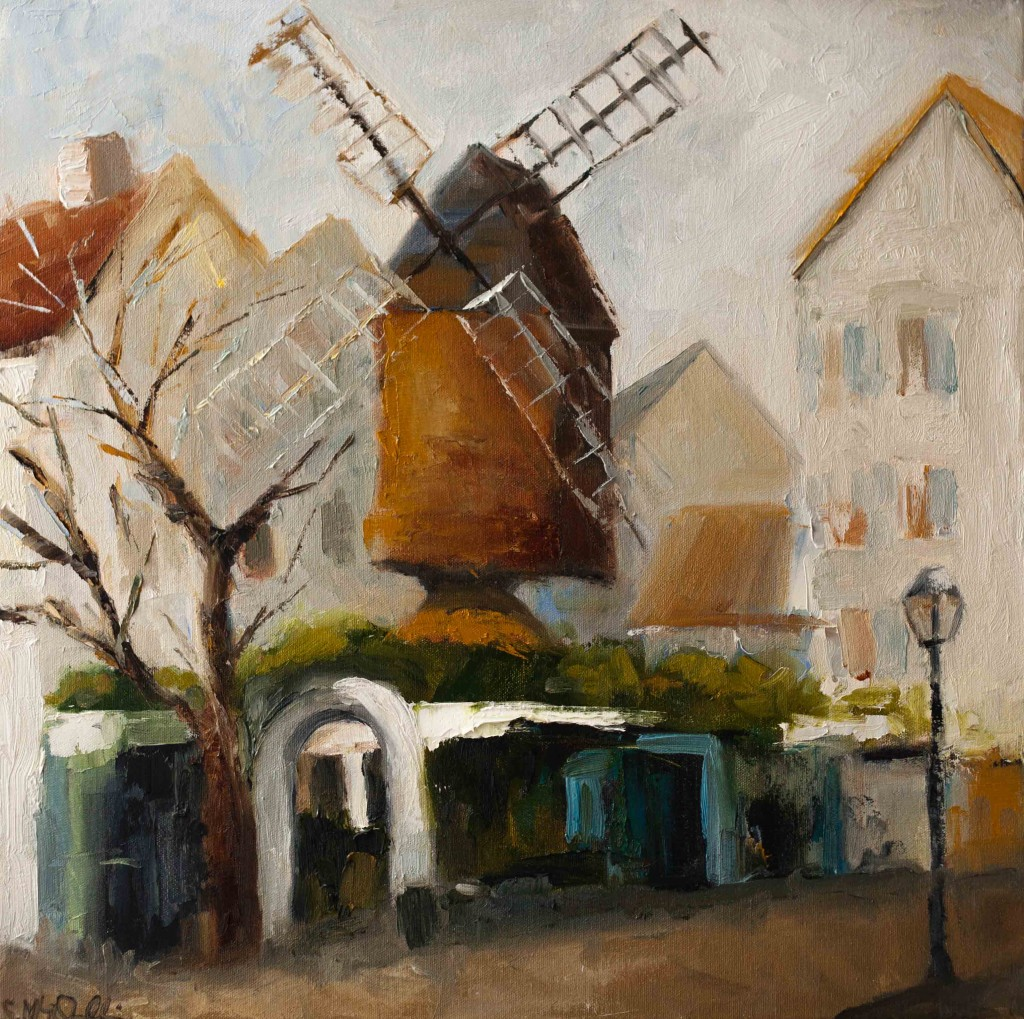 windmill, oil painting, paris, Montmatre ,
