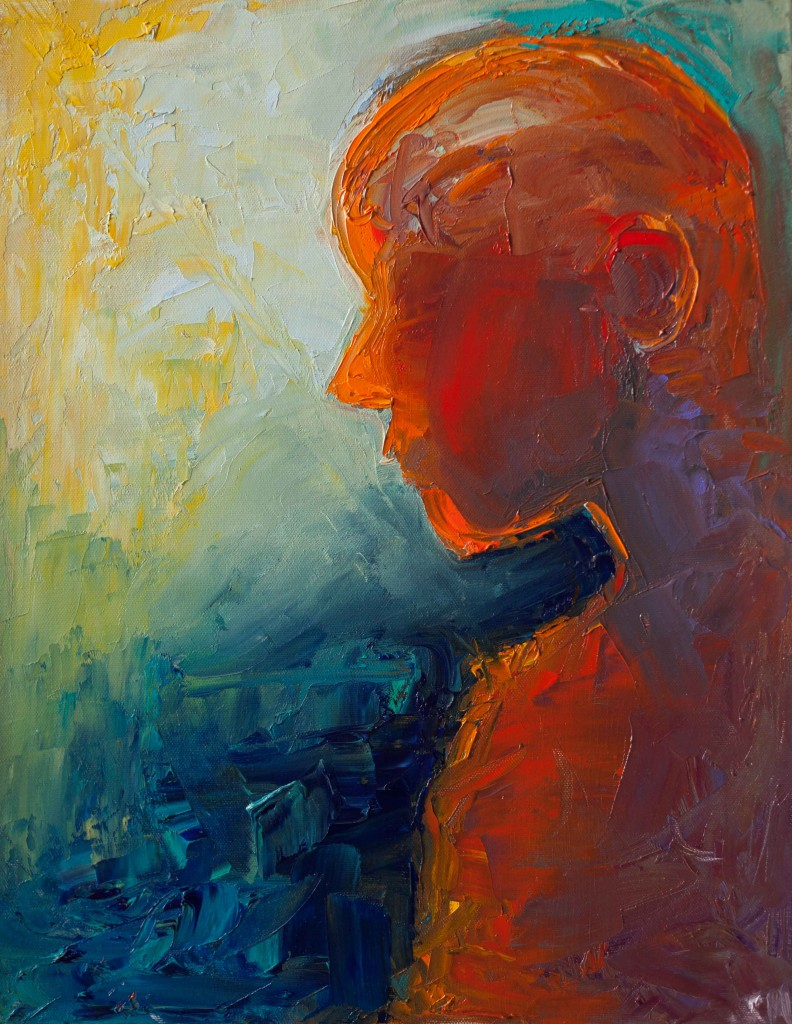 abstract, portrait, colorful artwork, expressive painting, oil on canvas