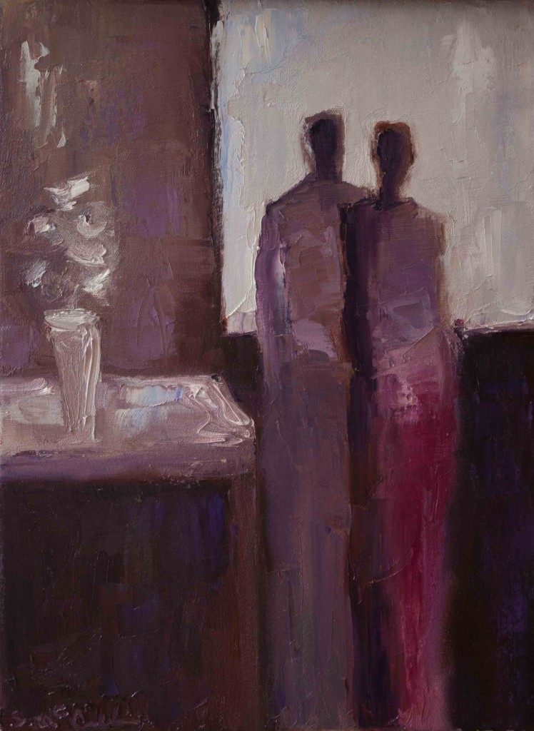 abstract figurative oil painting, art auction, love, romance, purple,