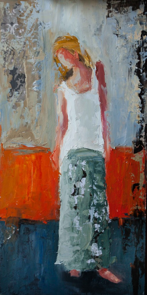 abstract figurative, colorful painting, oil painting, female figure, orange, blue,