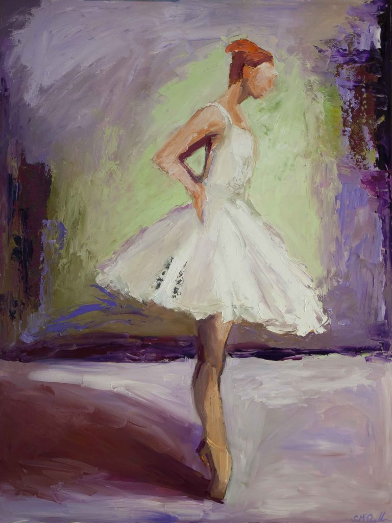 mixed media painting, dancer, ballerina,
